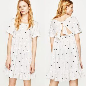 ZARA White Embroidered Polka Dot Ruffle Mini Dress